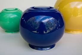 kitchen kraft fiestaware pottery covered jar in cobalt blue for sale