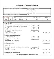 car purchase agreement templates word excel samples