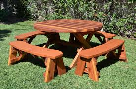 table attractive 6 picnic table with detached benches unfinished 8