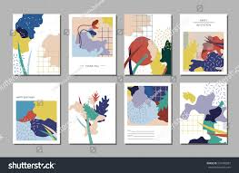 collection artistic cards abstract shapes japanese stock vector