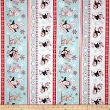 blue home decor fabric peppermint penguin skiing u0026 sledding stripe red discount