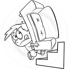 Couch Cartoon Cartoon Boy Carrying A Couch Black And White Line Art By Ron