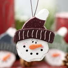 wood homespun snowman ornament ornaments