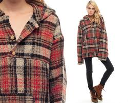 drug rug hoodie jacket plaid sweater flannel hippie boho red