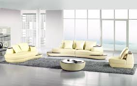 Double Chaise Sectional 5 Pieces Modern Ivory Bonded Leather Double Chaise Sectional Sofa