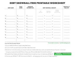 debt snowball and free printable worksheet earn money blogging