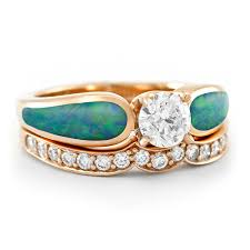 Opal Wedding Rings by Blushing Sea Radiance