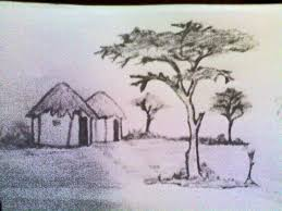 indian village scenery sketches pastel tutorial how to draw a