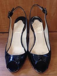 christian louboutin black patent leather espadrilles size 7 37