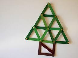 geometric popsicle stick tree ornament craft pink