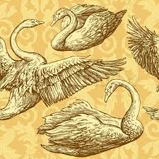 Wallpaper With Birds Vintage Antique Background With Swans And Victorian Ornaments