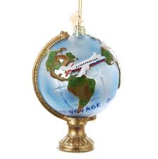 noble gems globe with airplane glass ornament kurt s adler