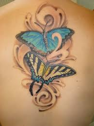 butterflies flowers with lady bug tattoo design all tattoos for men