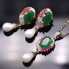 emerald earrings necklace images 2018 elegant design red emerald necklace earrings set wedding jpg