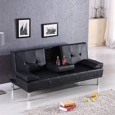 Black Sofa Bed Modern Black Luxury Style Fold Up Recliner Sofa Bed With Cup