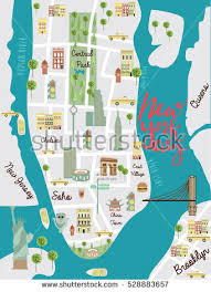 map of new your illustrated map new york city travel stock vector 528883657