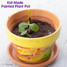 kid made painted planter or flower pot