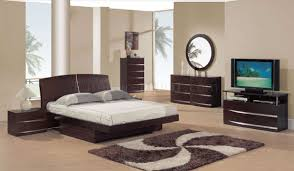 Contemporary Black King Bedroom Sets Dark Mahogany Semi Gloss Finish Modern Bedroom Set W Storage
