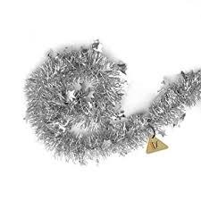 silver tinsel garland tree decorations