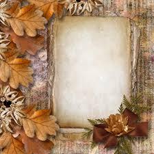 autumn frame of oak leaves on a grange background u2014 stock photo