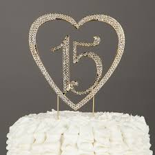 amazon com 15 heart cake topper gold 15th birthday party
