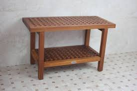 Teak Shower Bench Corner Solid Teak Grate Pattern Rigid Shower Seat