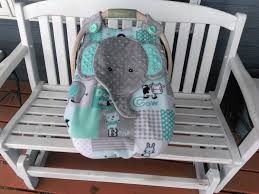 car seat canopy with peek a boo opening appliqued elephant
