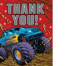 monster truck jam party supplies amazon com mudslinger monster truck thank you cards 8 per pack baby
