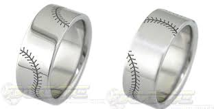baseball wedding band rings flat profile