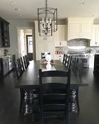 black dining table chairs black and white modern farmhouse kitchen with long dining table