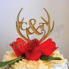antler cake topper 6 inch deer antler with monogram cake topper celebrate party