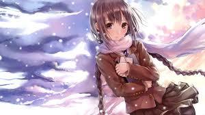 winter anime wallpaper hd anime girl scarf snow winter walldevil