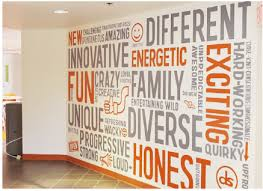 Values Wall Graphic Grey And Orange Typography Wall Graphic Word - Wall graphic designs