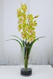 Tall Glass Vase Flower Arrangement Green Cymbidium Orchids Plant Acrylic Water Faux Silk Real