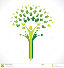 creative kids pencil hand tree design for support or helping
