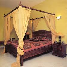 Canopy Curtains Wood Canopy Bed Frame With Curtains Luxurious Wood Canopy Bed