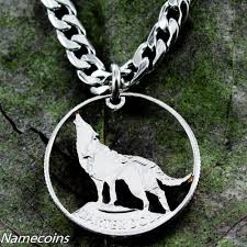 silver wolf pendant necklace images Wolf jewelry howling hand cut coin quarter namecoins jpeg