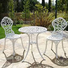 Vintage Patio Furniture - patio table chairs set ivory iron furniture balcony pool bistro
