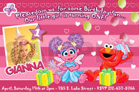 elmo abby cadabby birthday invitation party digital file photo