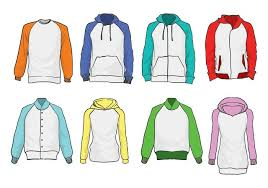 free raglan hoodie vector set download free vector art stock