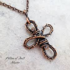 copper jewelry necklace images Copper woven wire cross pendant necklace wire wrapped jewelry by jpg