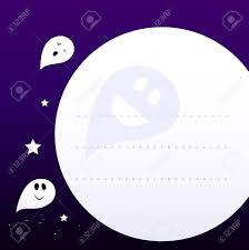 halloween background ghosts halloween cute ghosts flying aroud moon vector cartoon graphic