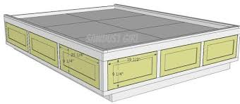 plans for a platform bed with storage drawers complete