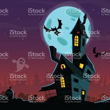 cartoon scary haunted house halloween vector background