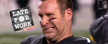 Roethlisberger Memes - late for work 11 3 ravens pop ben roethlisberger in jaw he turns