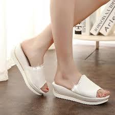 Platform Heels Comfort Summer 2016 New Leather Sandals And Slippers Women Platform