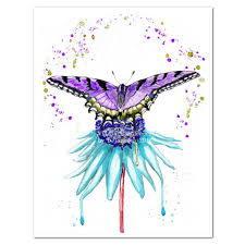 purple butterfly on aqua blue flower watercolor print wildlife