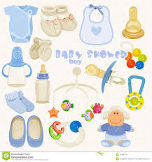 baby shower things baby shower set in blue colors for boy stock vector