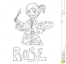 the simple outline drawing for coloring with the image of children
