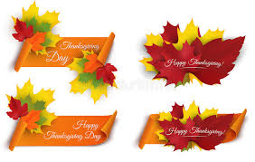 set of happy thanksgiving banners with colorful autumn leaves and